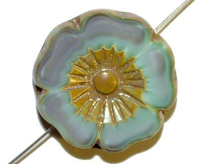 Best.Nr.:671405 Glasperlen / Table Cut Beads,  grau mint Perlettglas,  geschliffen mit burning silver picasso finish,  hergestellt in Gablonz / Tschechien
