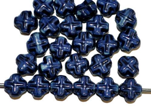 Best.Nr.:57057 Glasperlen Kreuzform  dunkelblau mit etwas türkis opak.,  hergestellt in Gablonz / Tschechien