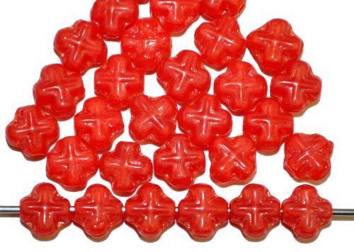 Best.Nr.:57525 Glasperlen Kreuzform  rot opak.,  hergestellt in Gablonz / Tschechien