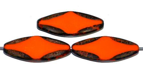 Best.Nr.:671410 Glasperlen / Table Cut Beads geschliffen  orange opak mit picasso finish,  hergestellt in Gablonz / Tschechien