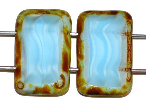 Best.Nr.:671398 Glasperlen / Table Cut Beads geschliffen  mit 2 Löchern  Perlettglas hellblau mit picasso finish,  hergestellt in Gablonz / Tschechien