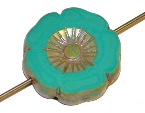 Best.Nr.:671406 Glasperlen / Table Cut Beads Blüte geschliffen  türkis opak mit burning silver picasso finish,  hergestellt in Gablonz / Tschechien