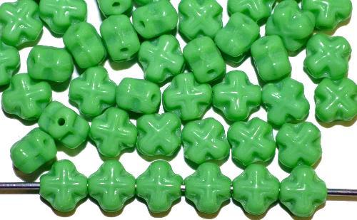 Best.Nr.:57581 Glasperlen Kreuzform  grün opak.,  hergestellt in Gablonz / Tschechien