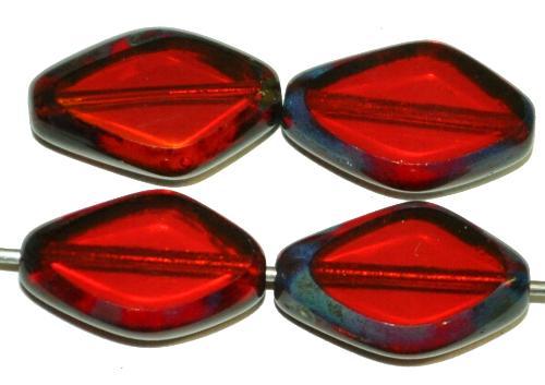 Best.Nr.:671417 Glasperlen / Table Cut Beads geschliffen  granatrot transp. mit picasso finish,  hergestellt in Gablonz / Tschechien