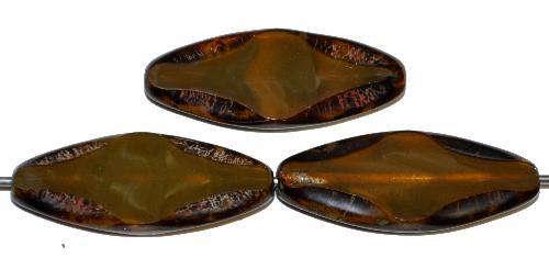 Best.Nr.:671204 Glasperlen / Table Cut Beads geschliffen  braunoliv mit picasso finish,  hergestellt in Gablonz / Tschechien