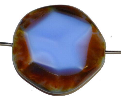 Best.Nr.:67972 Glasperlen geschliffen / Table Cut Beads,  blau mit etwas rosa mit picasso finish,  hergestellt in Gablonz / Tschechien