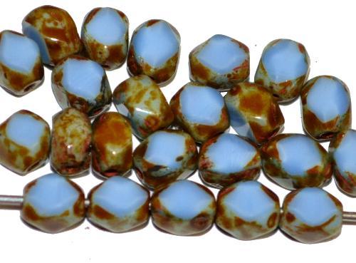 Best.Nr.:671412 Glasperlen / Table Cut Beads geschliffen  hellblau opak mit picasso finish,  hergestellt in Gablonz / Tschechien