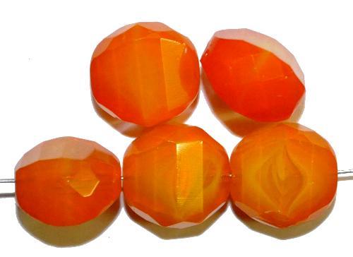 Best.Nr.:26180 geschliffene Glasperlen Multi Cut Beads Perlettglas orange, hergestellt in Gablonz / Tschechien
