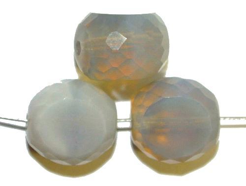 Best.Nr.:671200 Glasperlen / Table Cut Beads geschliffen, Rand facettiert, Perlettglas silk, hergestellt in Gablonz / Tschechien