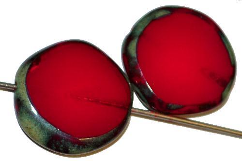 Best.Nr.:671075 Glasperlen / Table Cut Beads geschliffen dunkelrot opak mit picasso finish, hergestellt in Gablonz / Tschechien