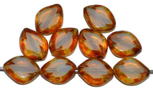 Best.Nr.:671416  Glasperlen / Table Cut Beads geschliffen  Opalglas mit picasso finish,  hergestellt in Gablonz / Tschechien