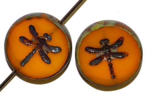 Best.Nr.:67689 Glasperlen / Table Cut Beads geschliffen mit eingeprägter Libelle,  ambar mit picasso finish hergestellt in Gablonz / Tschechien