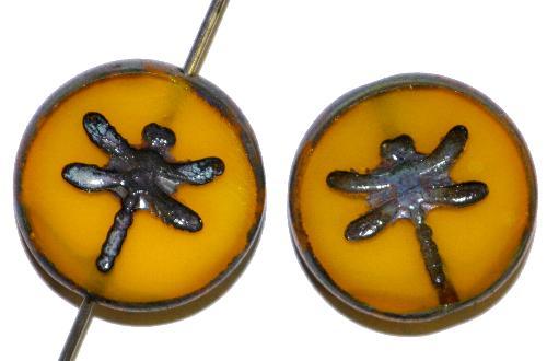 Best.Nr.:671228 Glasperlen / Table Cut Beads geschliffen mit eingeprägter Libelle,  picasso finish