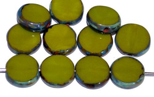 Best.Nr.:671414 Glasperlen / Table Cut Beads geschliffen   oliv opak mit picasso finish,   hergestellt in Gablonz / Tschechien
