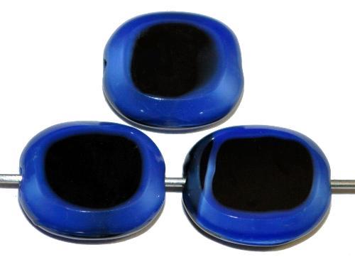 Best.Nr.:671415 Glasperlen / Table Cut Beads geschliffen  schwarz blau