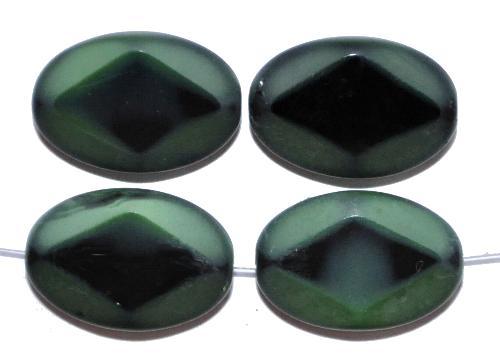Best.Nr.:67753 Glasperlen / Table Cut Beads geschliffen, schwarz grün Rand mattiert, hergestellt in Gablonz / Tschechien