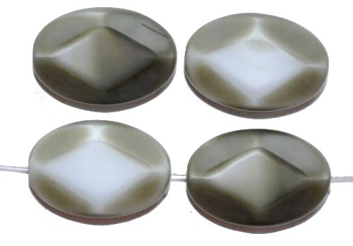 Best.Nr.: 671205 Glasperlen / Table Cut Beads geschliffen, grau Rand mattiert, hergestellt in Gablonz / Tschechien