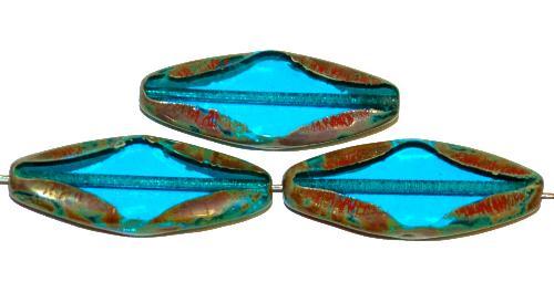 Best.Nr.:67674 Glasperlen / Table Cut Beads geschliffen  montanablau transp. mit picasso finish,  hergestellt in Gablonz / Tschechien