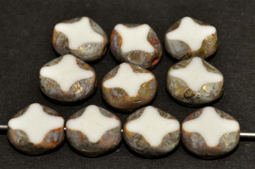 Best.Nr.:671385 Glasperlen / Table Cut Beads  geschliffen, altweiß opak mit picasso finish,  hergestellt in Gablonz Tschechien