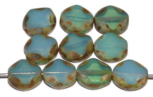 Best.Nr.:67907 Glasperlen / Table Cut Beads geschliffen, Opalglas blaugrün mit burning silver picasso finish, hergestellt in Gablonz Tschechien