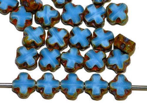 Best.Nr.:671465 Glasperlen / Table Cut Beads geschliffen  Perlettglas hellblau mit picasso finish,  hergestellt in Gablonz / Tschechien