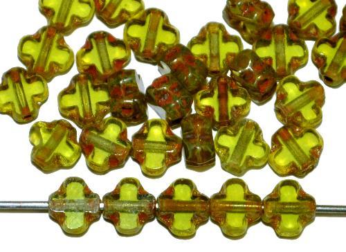 Best.Nr.:67343 Glasperlen / Table Cut Beads geschliffen  oliv transp. mit picasso finish, hergestellt in Gablonz / Tschechien