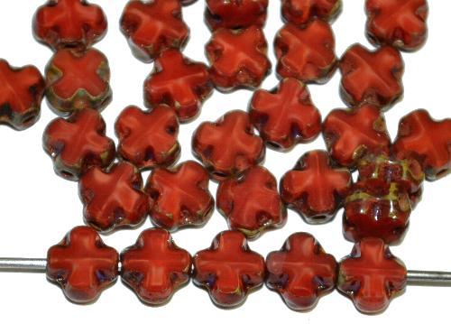 Best.Nr.:671450 Glasperlen / Table Cut Beads geschliffen  Perlettglas karmesinrot mit picasso finish,  hergestellt in Gablonz / Tschechien
