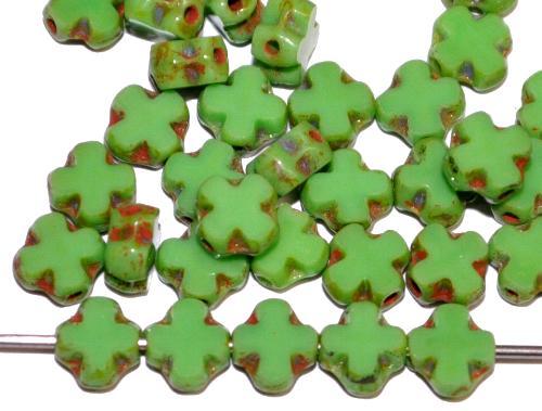 Best.Nr.:671320 Glasperlen / Table Cut Beads geschliffen  grün opak mit picasso finish,  hergestellt in Gablonz / Tschechien