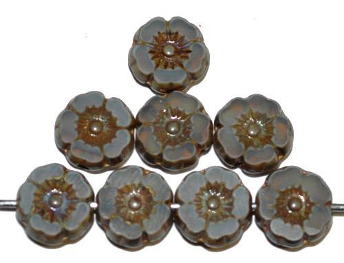 Best.Nr.:671362 Glasperlen / Table Cut Beads geschliffen Blüten Opalglas grau mit  picasso finish, hergestellt in Gablonz / Tschechien