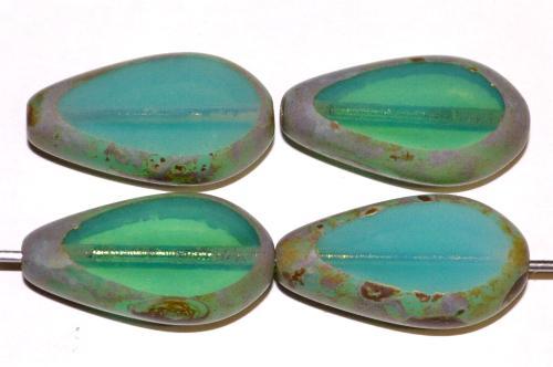 Best.Nr.:67854 Glasperlen / Table Cut Beads geschliffen, Opalglas oceangreen mit picasso finish, hergestellt in Gablonz Tschechien