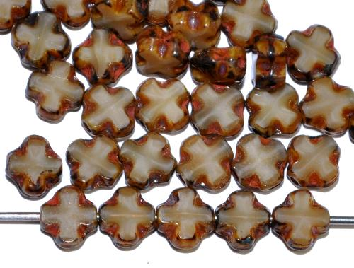 Best.Nr.:671467 Glasperlen / Table Cut Beads geschliffen  Perlettglas beige mit picasso finish,  hergestellt in Gablonz / Tschechien
