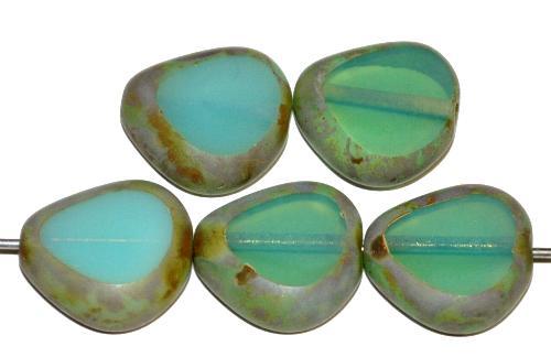 Best.Nr.:671308 Glasperlen / Table Cut Beads geschliffen, Opalglas oceangreen mit picasso finish, hergestellt in Gablonz Tschechien