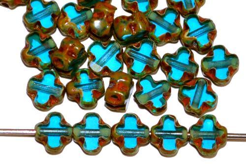 Best.Nr.:67325 Glasperlen / Table Cut Beads geschliffen  türkis transp. mit picasso finish,  hergestellt in Gablonz / Tschechien