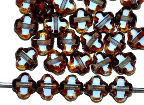 Best.Nr.:671452 Glasperlen / Table Cut Beads geschliffen  aqua transp. mit picasso finish,  hergestellt in Gablonz / Tschechien