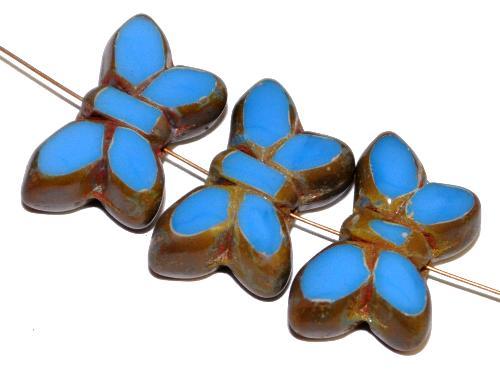 Best.Nr.:671449 Glasperlen / Table Cut Beads Schmetterlinge  geschliffen, mittelblau mit picasso finish,  hergestellt in Gablonz Tschechien