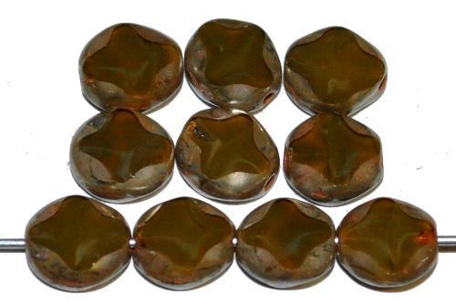 Best.Nr.:671355 Glasperlen / Table Cut Beads geschliffen, Perlettglas sumpfgrün mit picasso finish, hergestellt in Gablonz Tschechien