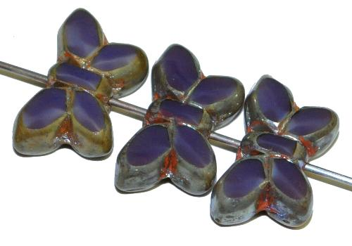 Best.Nr.:671460 Glasperlen / Table Cut Beads Schmetterlinge  geschliffen, Perlettglas violett mit picasso finish,  hergestellt in Gablonz Tschechien