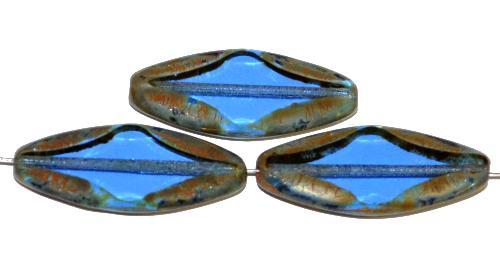 Best.Nr.:671442 Glasperlen / Table Cut Beads geschliffen  blau transp. mit picasso finish,  hergestellt in Gablonz / Tschechien