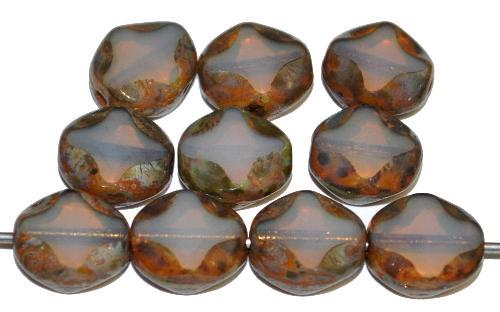 Best.Nr.:671477 Glasperlen / Table Cut Beads  geschliffen, Opalglas mit picasso finish,  hergestellt in Gablonz Tschechien