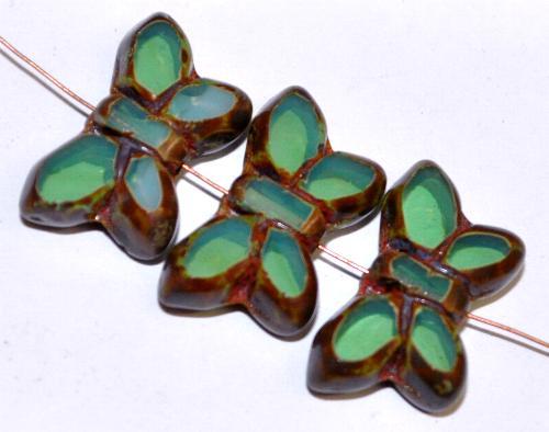 Best.Nr.:671433 Glasperlen / Table Cut Beads Schmetterlinge  geschliffen, oceangreen opal mit picasso finish,  hergestellt in Gablonz Tschechien