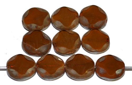 Best.Nr.:67969 Glasperlen / Table Cut Beads geschliffen, Alabasterglas braun mit picasso finish, hergestellt in Gablonz Tschechien