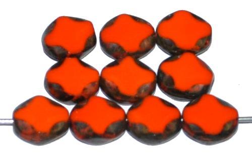 Best.Nr.:671351 Glasperlen / Table Cut Beads geschliffen, orange opak mit picasso finish, hergestellt in Gablonz Tschechien