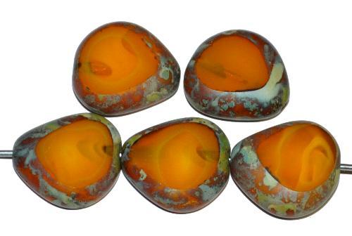Best.Nr.:67833 Glasperlen / Table Cut Beads geschliffen, Alabasterglas ambar mit picasso finish, hergestellt in Gablonz Tschechien