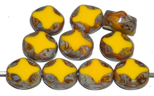 Best.Nr.:671432 Glasperlen / Table Cut Beads geschliffen,  gelb opak mit picasso finish,  hergestellt in Gablonz Tschechien