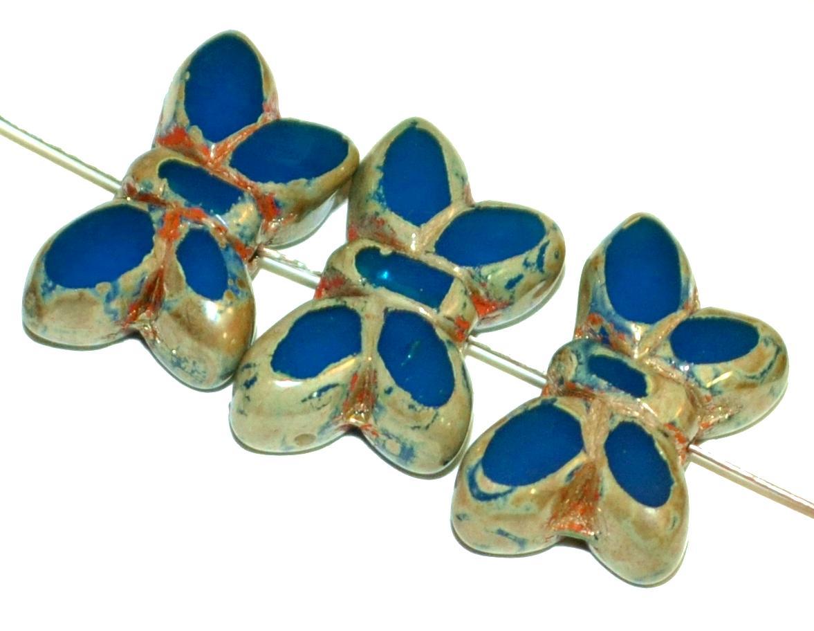 Best.Nr.:671469 Glasperlen / Table Cut Beads Schmetterlinge  geschliffen, Alabasterglas montanablau mit picasso finish,  hergestellt in Gablonz Tschechien