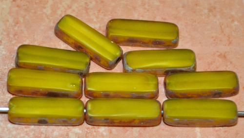 Best.Nr.:671462 Glasperlen / Table Cut Beads geschliffen  Perlettglas gelb mit picasso finish,  hergestellt in Gablonz / Tschechien