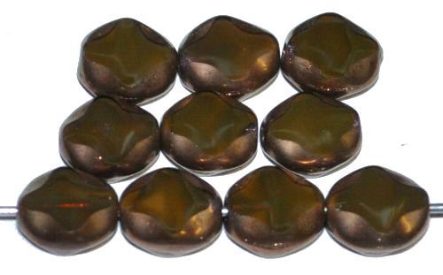 Best.Nr.:671412 Glasperlen / Table Cut Beads geschliffen, Perlettglas sumpfgrün mit bronze finish, hergestellt in Gablonz Tschechien