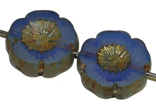 Best.Nr.:671473 Glasperlen / Table Cut Beads Blüten geschliffen lila Opalglas mit burning silver picasso finish,  hergestellt in Gablonz / Tschechien