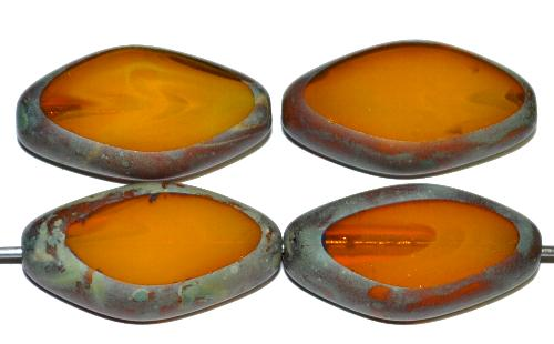 Best.Nr.:671085 Glasperlen / Table Cut Beads geschliffen, Alabasterglas ambar mit picasso finish, hergestellt in Gablonz Tschechien