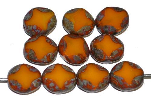 Best.Nr.:671143 Glasperlen / Table Cut Beads geschliffen, Perlettglas ambar mit picasso finish, hergestellt in Gablonz Tschechien